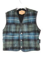 Woolrich Tartan Plaid Wool Blue Green Button Up Winter Vest Vtg. Mens Med E14