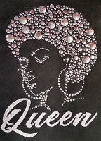 "HOTFIX RHINESTONES STUD HEAT TRANSFER IRON ON ""Afro girl Queen Silver"""