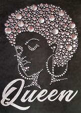 "HOTFIX RHINESTONES STUD HEAT TRANSFER IRON ON ""Afro girl Queen Silver"""