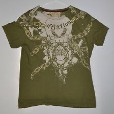 Affliction Megadeth Skull Dave Mustaine Distressed Mens Shirt Size Large RARE