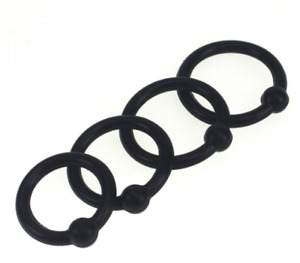 4x Black Silicone Glans Penis Head Cock Ring Set 1 Ball Pressure Point Male