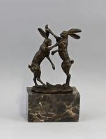 9937554-ds Bronzo Scultura Figura Coniglio che Duello Sign.nick 13x7x24cm
