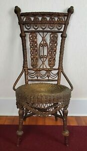 1800's Antique Heywood Wakefield Ornate Wicker Accent Prop Chair