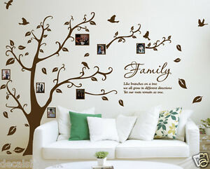 Family Photo Tree & Birds Art Vinyl Wall Sticker, DIY Wall Decal- HIGH QUALITY