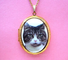 Porcelain GRAY & WHITE TABBY CAT CAMEO Costume Jewelry Locket Pendant Necklace