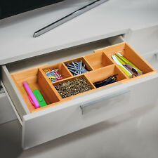 Bamboo Expandable Organiser Drawer Inserts Wooden Storage Holder Office