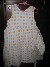Girls pastel polka dot Spring/Summer/Easter/Party dress w/ matching hat Size 4T