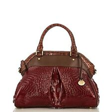 ❤️BRAHMIN LOUISE ROSE RED CARMINE TRI COLOR SATCHEL CROC LEATHER ~ CHIANTI RUBY❤