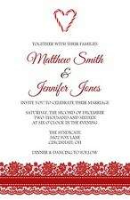 Winter Red Lace Wedding Invitations 50 Invitations & RSVPs Optional Candy Cane