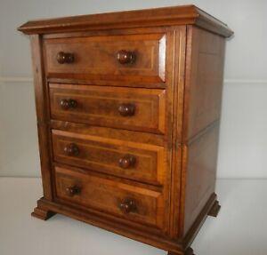 Fine Victorian Burr Walnut Miniature Collectors-Jewellery-Stationary Cabinet