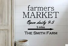 Personalized Family FARMERS MARKET Farmhouse Vinyl Wall Decal Sign Fixer Upper