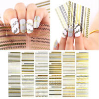 24 Sheets Nail Art Transfer Stickers Decal 3D Design Manicure Tips Decoration