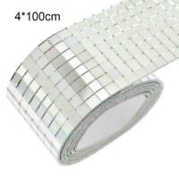 100x4cm Glass Mosaic Tiles Mirror Self Adhesive Sticker Squares Mini DIY T1Y5