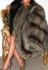 MAGNIFICENT REAL SILVER SAGA FOX GENUINE FUR COAT JACKET BEAUTIFUL DESIGN! XL
