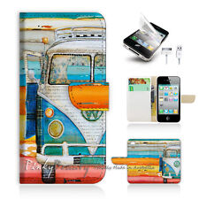( For iPhone 5C ) Wallet Case Cover! Van on the Beach P0074