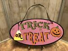 Vintage Cute Halloween Trick Or Treat Oval Sparkly Glitter Sign Decoration