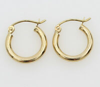 14K Yellow Gold 2mm Thick Small Classic Polished Hinged Hoop Earrings 11mm 7/16""