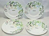 "Mikasa Tivoli Garden Bone China Multi-Color Floral 9"" Salad Plates Set / 4 New"