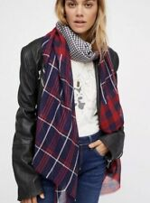 NEW Free People Check Yourself Patchwork Plaid Scarf Red/Navy