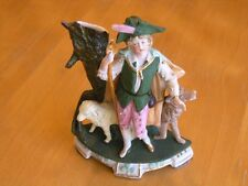 Fine Antique German Bisque Porcelain Figurine Shepherd Sheep Wolf Hand Painted