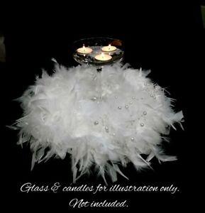 WEDDING TABLE DECORATION / CENTERPIECE. WHITE FEATHER