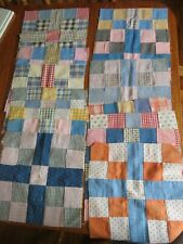Vintage 4 Patch Quilt Patches-14 Hand Stitched