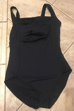 Calvin Klein One Piece Swimsuit Size 10 Black Ruched Pleated Top Panel  bx25