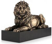 "8.5"" Lion Lying on Plinth Statue Animal Sculpture"