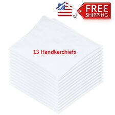One Pack of 13 Pcs White Cotton Men's Handkerchiefs (H012)