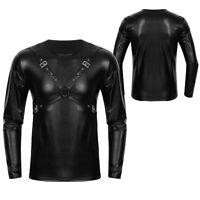 Herren Wetlook T-Shirt Tops Lack Leder Unterhemd Langarmshirt Clubwear Schwarz