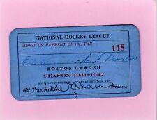 1941-42 Boston Bruins Ticket Pass FDR Declares War/Frank Brimsek Vezina Throphy