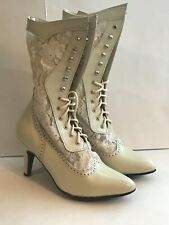 Victorian Ivory Boots, Leather and Lace,Oak Tree Farms, Size 6.5, 7.5, 8, 8.5,10