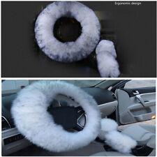 3Pcs Universal Wool Furry Fluffy Thick Fur Car Steering Wheel Cover Anti-Slip