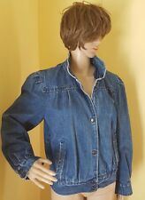 Vintage Designer Sergio Valente Women's Medium Blue Denim Jean Jacket Snap Front