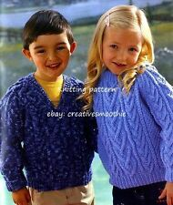 (205) 1-11yrs, Boys Girls Cable Sweaters, Round or V-neck, Aran Knitting Pattern
