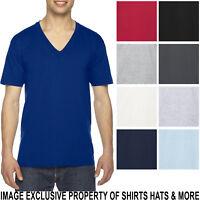 American Apparel V Neck T-Shirt Basic Tee Short Sleeve PRESHRUNK Cotton XS-2XL