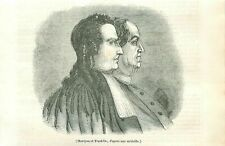 Portrait baron de Montyon France & Benjamin Franklin USA ANTIQUE OLD PRINT 1838