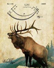 Elk Hunting Bugle Call Patent Art Print Vintage Moose Cabin Decor Antler PAT467