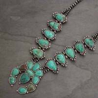 *NWT* Full Squash Blossom Natural Turquoise Necklace-7317250089