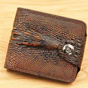 Men's wallet leather genuine bilateral short wallets vintage alligator style 202