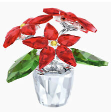 New In Box Swarovski Christmas Poinsettia Red Flower Small Figurine #5291023