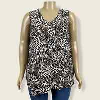 Roz & Ali Leopard Animal Print Asymmetric Hem Tank Top PLUS Size 3X Jersey Knit