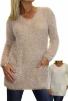 Womens Fluffy Knit Tunic Jumper With Pockets 6-18