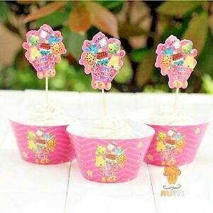 Shopkins Cupcake Wrappers/ Cupcake Toppers kids Birthday party decoration