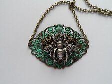 "18"" Antique Bronze Steampunk Bee Patina Pendant"