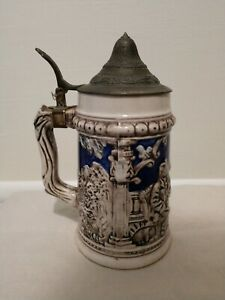 "7"" Lidded Ceramic Stein Made in Japan - Men Drinking Scene"