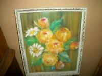 VINTAGE FLORAL OIL PAINTING MUMS DAISIES ORNATE FRAME 1940's EARLY MID CENTURY