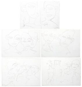 Kiddy Citny - 5 Bleistift-Zeichnungen - eine davon handsigniert 1991