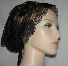 BLACK LACE SCARF HEADCOVERING Bandana Kerchief Head Covering Headwrap Veil Hat