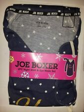 "Joe Boxer ""You Wish"" 2pc Night Shirt & Eye Mask Set Blue w Gold Stars NWT Large"
